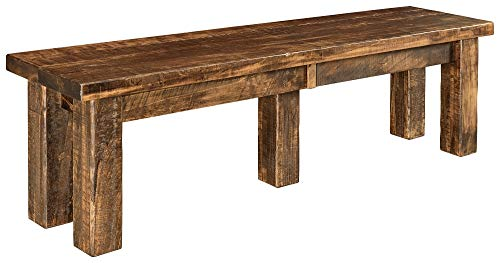 New Hickory Wholesale Amish Houston 7 Pc. Solid Rough Sawn Wood Dining Table Set, Stained Almond