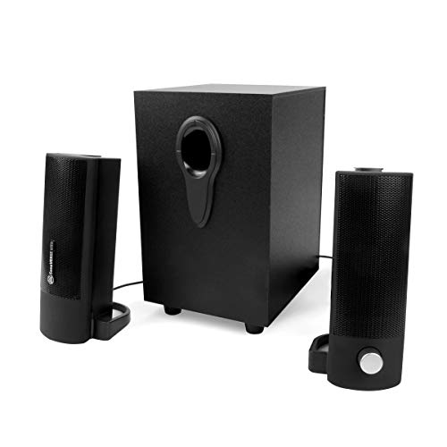 GOgroove 2.1 Computer Speakers with Wired Subwoofer – SonaVERSE UTR USB Powered PC Speakers with 22W Peak Power, 3.5mm Input, and Transforming Stereo Satellites for Laptops and Desktops Black