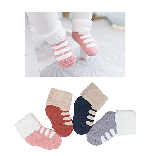 Unisex Baby Winter Cotton Socks Newborn Baby Socks Toddler Socks 4 Pairs by UBae