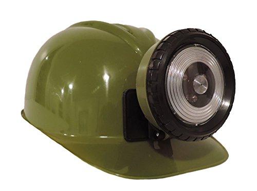 [Childrens OLIVE GREEN Construction Lighted Miner Hard Hat] (Coal Miner Costume)