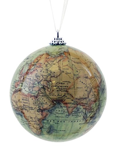 Antique Old World Map Globe Hanging Christmas Ornament ()