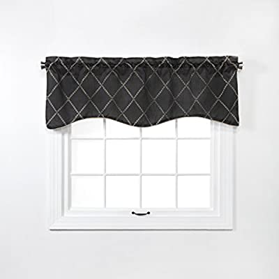 "Renaissance Home Fashion Solitaire Embroidered Scalloped Valance with Cording, 52"" X 17"", Onyx - 3 attractive colors: crimson, Onyx, vanilla Care instructions: machine wash cold. Wash separately. Use mild soap. Do not bleach. Tumble dry low. Iron at low temperature if needed Imported from China - living-room-soft-furnishings, living-room, draperies-curtains-shades - 410Oa6m VYL. SS400  -"