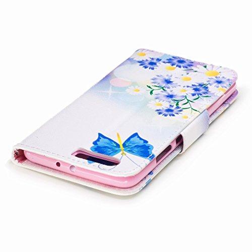 Yiizy Huawei P10 Plus Custodia Cover, Farfalla Blu Design Sottile Flip Portafoglio PU Pelle Cuoio Copertura Shell Case Slot Schede Cavalletto Stile Libro Bumper Protettivo Borsa