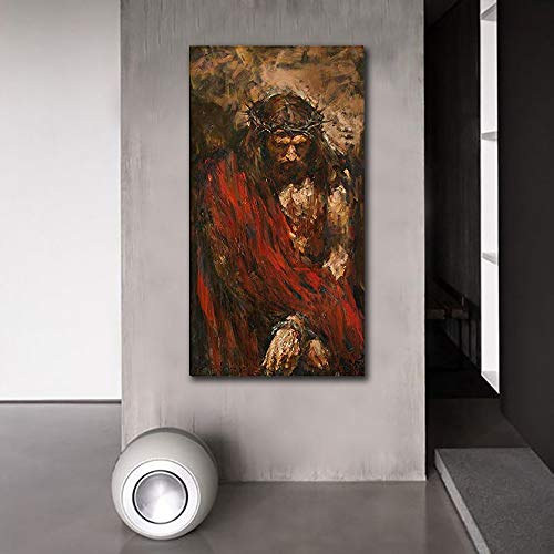 (Abstract Canvas Prints Jesus Christ Wall Art Photos of Oil Painting Retro Vintage Christian Religion Wooden Modern Home Decor Poster for Living Room)