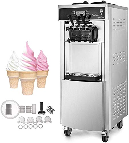 Best Price! VEVOR 2200W Commercial Soft Ice Cream Machine 3 Flavors 5.3 to 7.4Gallons per Hour Auto ...