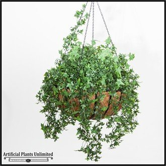 Artificial English Ivy in 22in Hanging Basket, Outdoor Rated by Windowbox