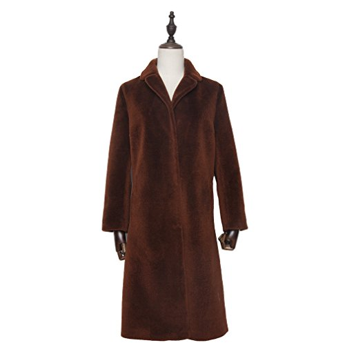 Fur Story Women's Long Real Lamb Fur Coat Thick Warm Coat Full Sleeve Stand up Collar (US 12, Caramel) by Furstory