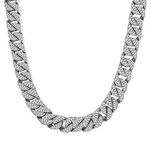 Huaming 13mm Mens Iced Out Chain Necklace Hip Hop Silver Tone CZ Miami Cuban Link Chain Choker Necklace 18inchs ()