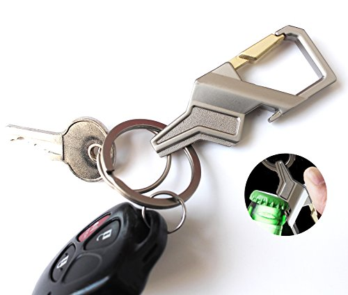 Olivery Keychain with 2 Key Rings & Bottle Opener, Chrome Silver Color Key Chain. The Perfect Combination of