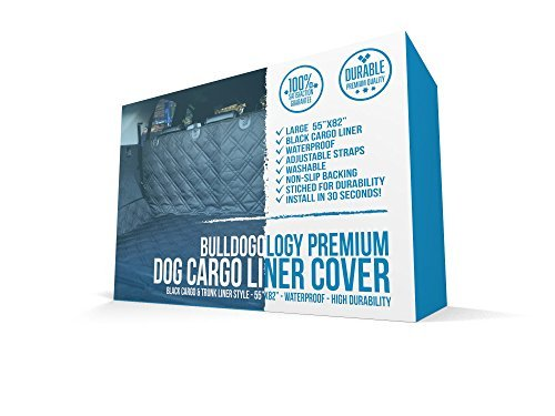 Bulldogology Premium Cargo Liner Cover for Dogs - Heavy Duty Durable Quality for SUVs and Cars - Waterproof, Non-Slip, Adjustable Straps, and Machine Washable (Large, Universal Fit)