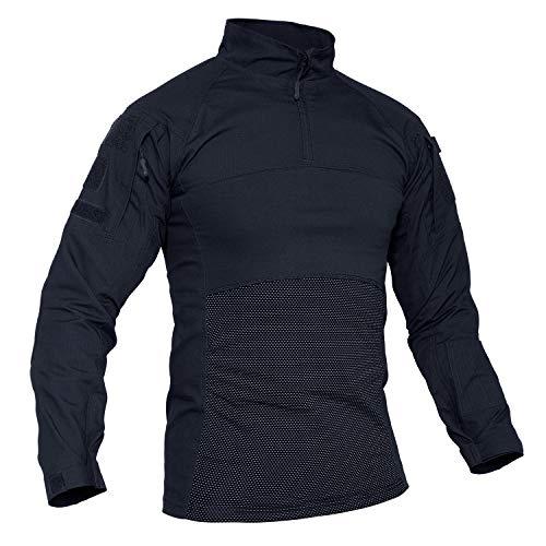 TACVASEN Men's Tactical Shirt 1/4 Zip Assault Military Top Long Sleeve Outdoor Hiking Shirt