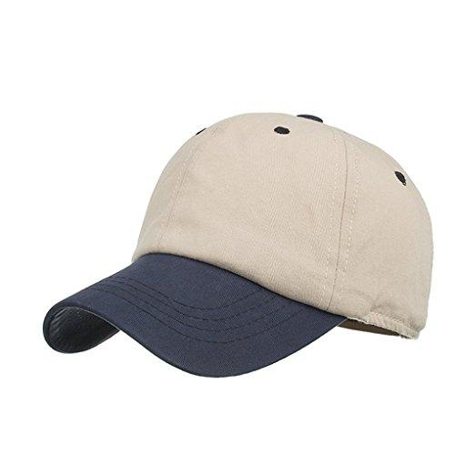 ezijin Fashion Women Men Adjustable Colorblock Baseball Cap Hat Cap Shade Hat (Beige)