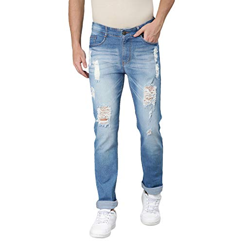 Urbano Fashion Men's Light Blue Slim Fit Heavy Distressed/Torn Jeans