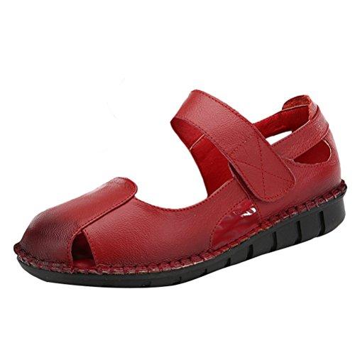Mordenmiss Kvinna Nya Peep Toe Kardborre Flera Färg Platta Sandaler Stil Två Röda