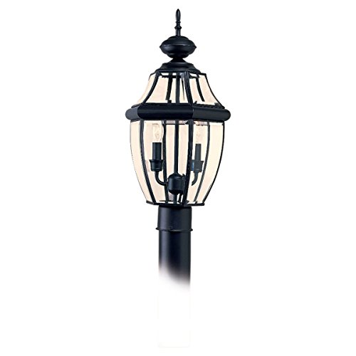 Sea Gull Lighting 8229-12 Outdoor Post Mount with Clear BeveledGlass Shades, Black - Beveled Post Glass Mount
