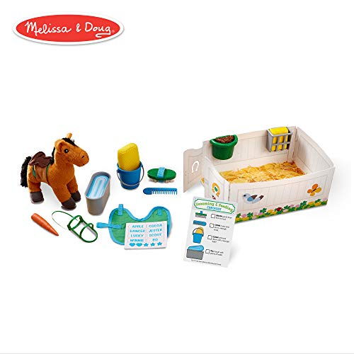 Melissa & Doug Feed & Groom Horse Care Play Set with Plush Stuffed Animal (23 Pieces)