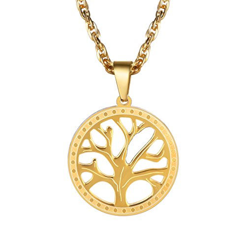 PROSTEEL Necklaces Pendants,Nature Spiritual Tree of Life Necklace,Family Tree Necklace,Women Jewelry,Mens Jewelry,18K Gold Plated