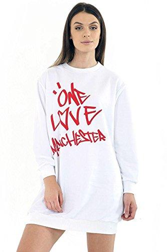 MANCHESTER Oversize Printed Manchester WHITE One Ladies 21FASHION Celebrity SWEATSHIRT Love ONE Pocket PRINT Women Sweatshirt LOVE 0BqxOgHngf