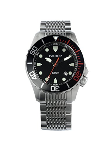 Pantor Seahorse 1000m Big Size 45mm Pro Dive Automatic Watch with Helium Valve Black Rotating Bezel Sapphire Stainless Steel Bracelet & extesion Buckle
