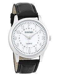 Ferenzi Men's | Classic 24hr White Face Black Alligator Style Band Silver Watch | FZ16001