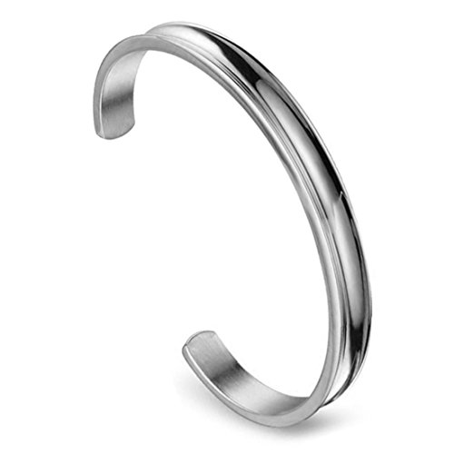- Zuo Bao Stainless Steel Bracelet Grooved Cuff Bangle for Women Girls£¨Silver£