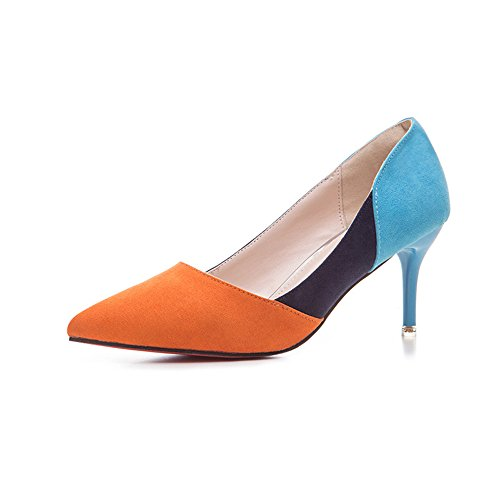 Pointy Pumps Toe Women Heels Dress High Party Shoe Sexy Orange wpCCqWIxd