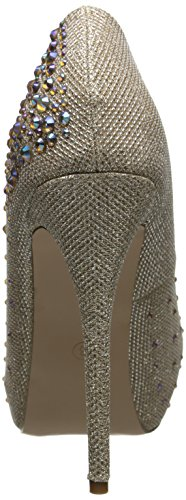 Pleaser Destiny 06r - Zapatos Mujer Nude Glitter Mesh Fabric