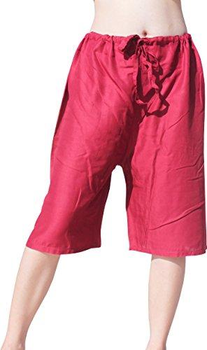 Burgundy Lizard (Raan Pah Muang RaanPahMuang Short Pull-String Light Viscose Rayon Lounge Lizard Pants, Small, Burgundy Red)