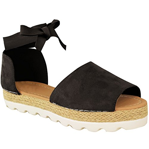 Ribbon Espadrille Sandals (Fashion Thirsty Womens Flat Lace Up Sandals Espadrilles Summer Chunky Holiday Shoes Size 9)