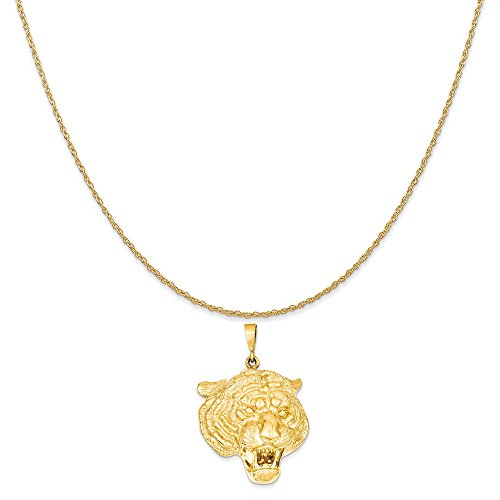 14k Yellow Gold Tigers Head Pendant on a 14K Yellow Gold Rope Chain Necklace, 16