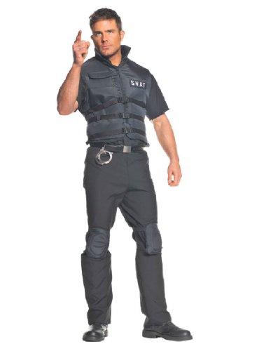 Mens Swat Costumes (Underwraps Men's Plus-Size Swat, Black, XX-Large)