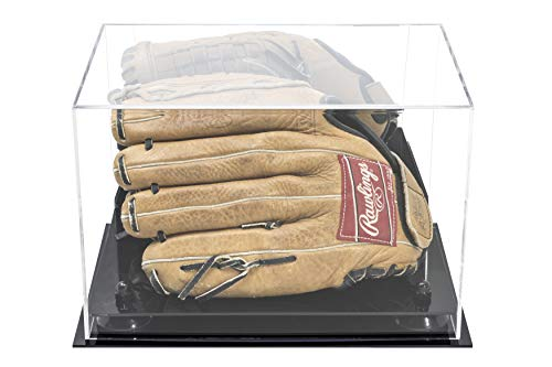 Baseball Holder Glove (Deluxe Acrylic Baseball Glove Display Case with Black Risers and Mirror (A004-BR))
