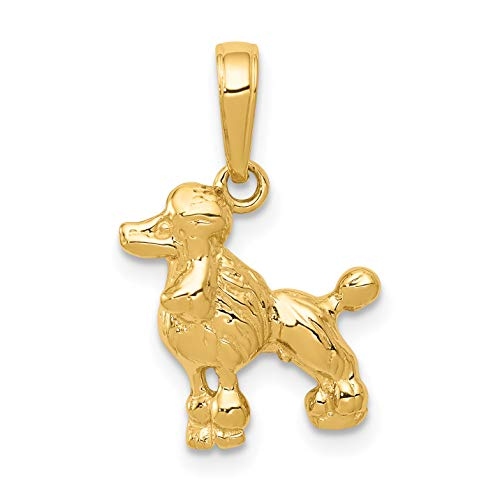 Mireval 14k Yellow Gold Poodle Dog Pendant (13 x 19 mm)