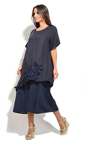 100% Lin - Robe PETUNIA - Femme Bleu Marine