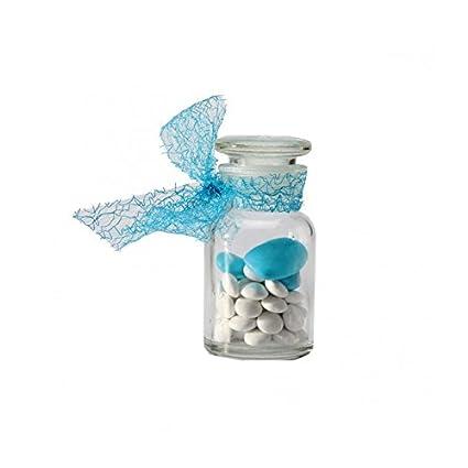 Lot de 3 recinto con gominolas Mini Bonbonniere vidrio forma botella Pharma con tapón de vidrio