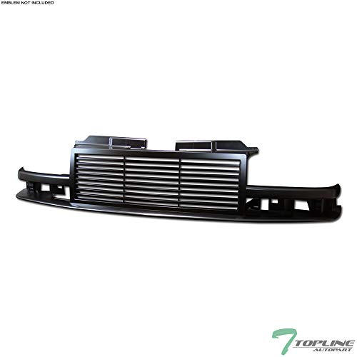 Topline Autopart Black Horizontal Front Hood Bumper Grill Grille ABS For 98-04 Chevy S10 Blazer / S10 Pickup ()