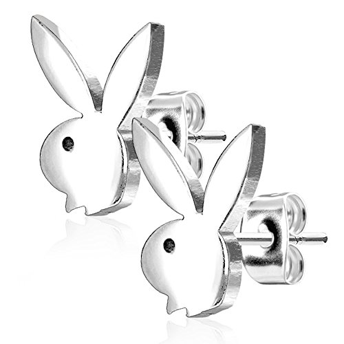 Pierce2GO Playboy 316L 20G Surgical Steel Bunny Earring Studs Plated for Women 0.8 MM - Playboy Licensed - Earrings Playboy Mens