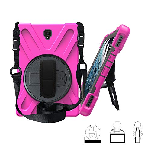 Galaxy Tab S4 10.5 Case,ZERMU Heavy Duty Three Layer Shockproof Rugged Hard PC+Silicone Armor Case with Built-in Stand+Hand Strap+Shoulder Strap for Samsung Galaxy Tab S4 10.5 Inch 2018 SM-T830 /T835 (Kate Spade Adjustable Ring)