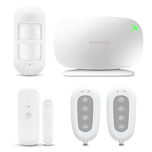 smanos X330 Alarm Security System Kit for home or Business, GSM works on ATT or T-Mobile networks and includes 1 X330 GSM Hub, 1 wireless door/window & motion sensor each with 2 On-Site Remotes by smanos