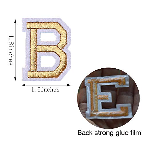 SHELCUP Iron on Letter Patch for Clothes, 52pcs Alphabet A to Z Word Iron-on Patches, Sew-on Appliques for Jeans/Jackets/Backpacks/Kids Clothing to Cover Rip/Logo, Classic Gold