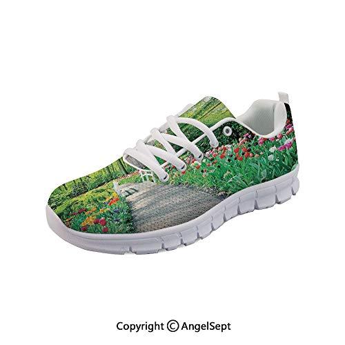 oobon Women's Sneakers in Keukenhof Gardens Path Flowers Casual Sport Run Shoes
