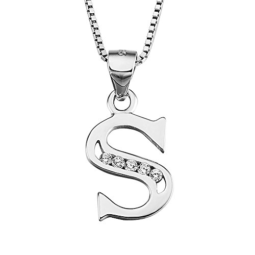 YFN Initial S Pendant Necklace in Sterling Silver with Cubic Zirconial 26 Letter Alphabet Jewelry for Women Teen Girl