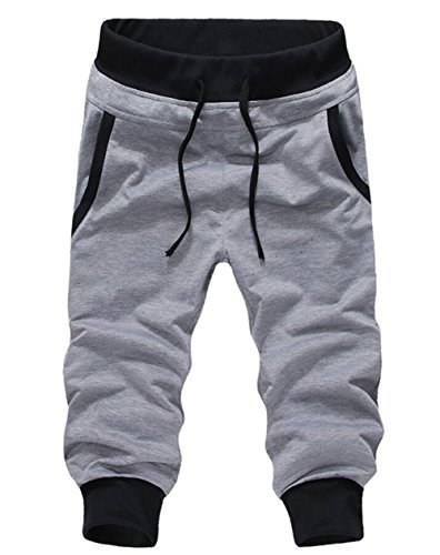SoEnvy Men's Casual Harem Training Jogger Sport Short Baggy Pants Small Grey 2