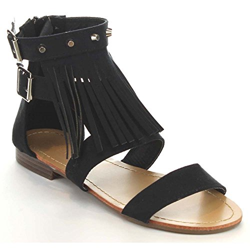 Zipper Sandals Womens 2 Tevo Flat Fringe Bella Toe Black Marie Studed Round Back EqaXPtpn
