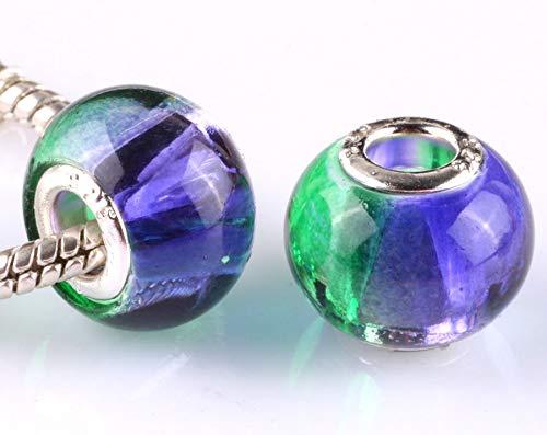NEW 5pcs silver spacer beads fit Charm European Bracelet DIY AA657 - Leaves Photo European Beads