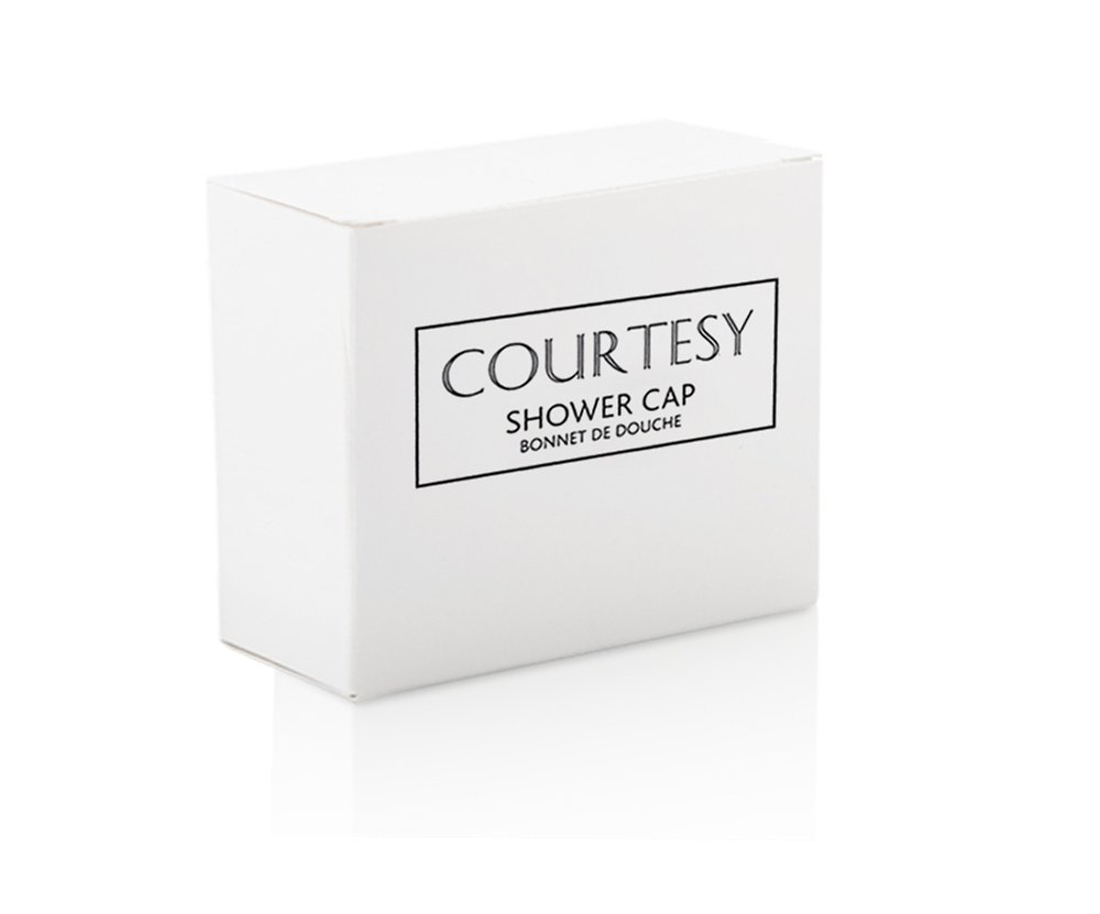 Courtesy Disposable Shower Cap Boxed, Hotel B&B Guest Travel - Pack of 25