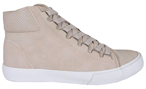 Frisdrank Dames D-ring Veters Geperforeerd Hoge Top Flatform Fashion Sneaker Lichtroze Pu