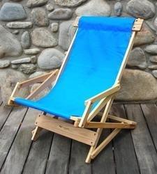 Sling Wood Recliner Beach Chair Fabric: Atlantic Blue