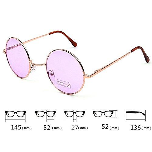 Or Homme Lunettes soleil New Colorful de Femme hibote Lens Rond Glasses Retro Eyewear Purple Cadre twTAqgx7