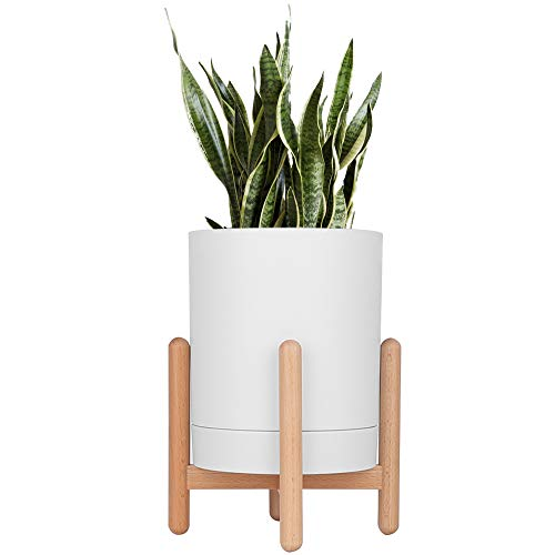 (Moutik Wood Plant Stand with Pot, Modern Flower Stand Display Mid Century Modern 6.5'' for Indoor and Outdoor Perfect Combination for Mini Cactus Aloe Snake Plant etc. (Pot Included), White)